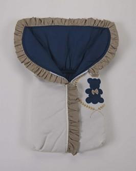Porta Bebê 100% Algodão Azul marinho Palha e Dourado Urso Rei