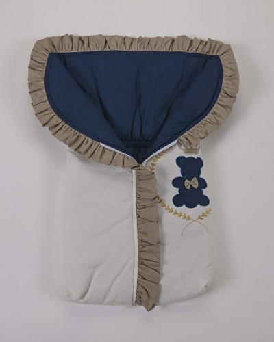 Detalhes do produto Porta Bebê 100% Algodão Azul marinho Palha e Dourado Urso Rei