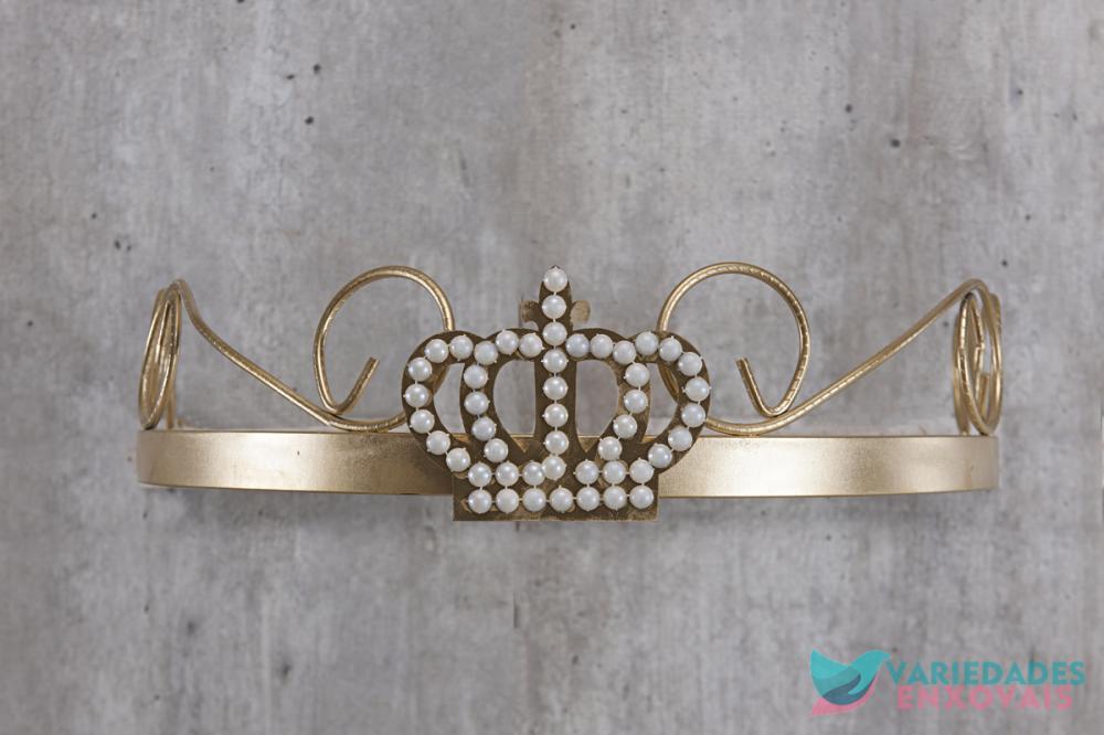 Dossél Dourado Arabesco Rococó com Coroa de Pérolas