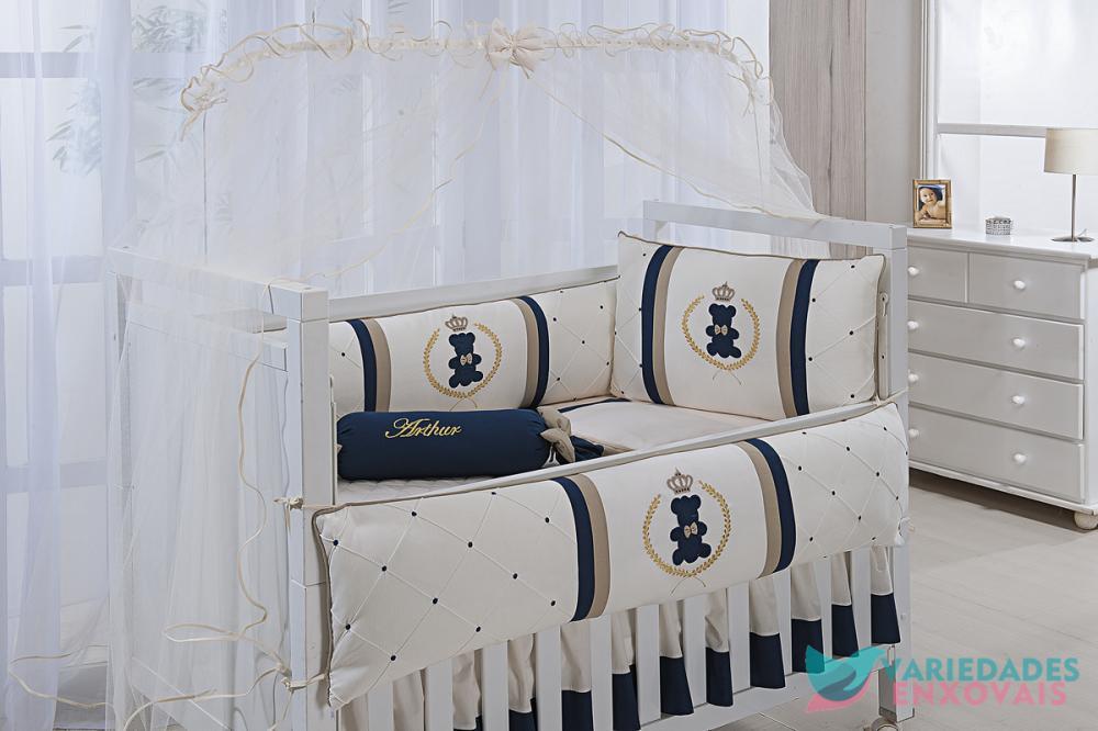 Kit Berço 8 Peças Azul Marinho e Dourado Urso Realeza
