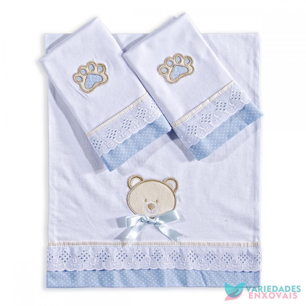 Jogo de Fraldas 3 Peças Urso Azul