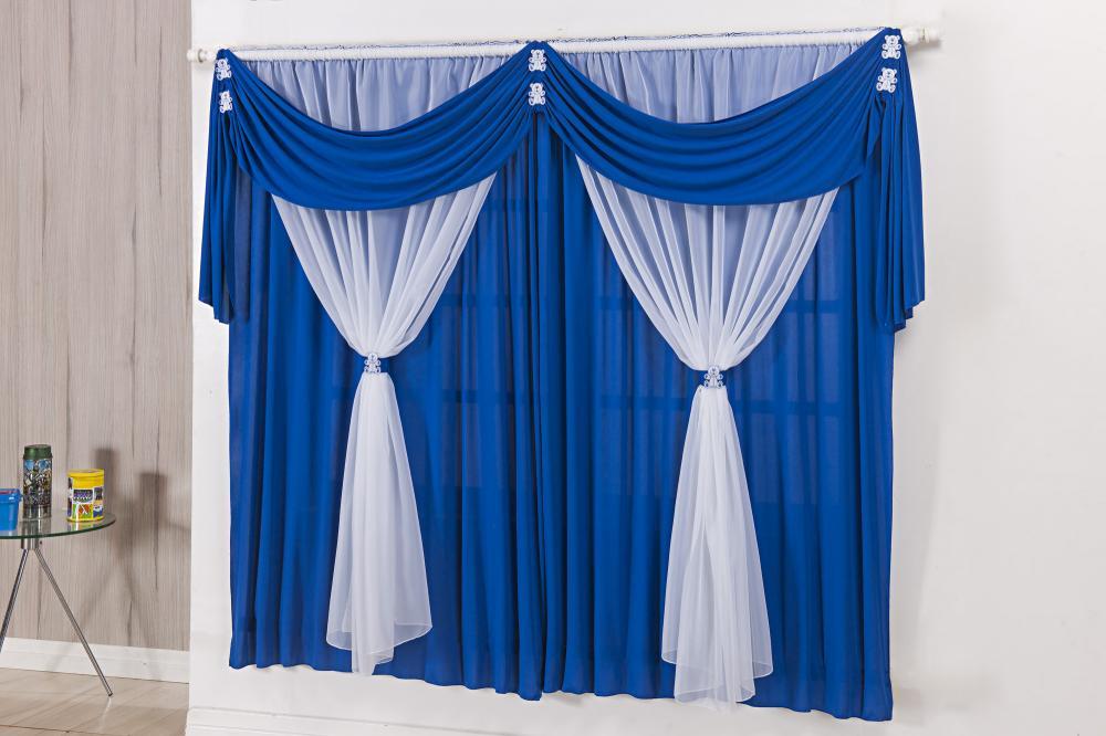 Cortina Para Quarto Infantil Azul Royal e branco Ursinhos 2m